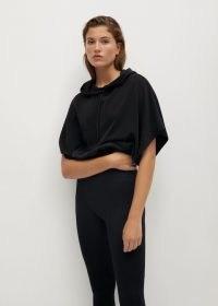 MANGO SPORT Modal sweatshirt in black ~ wide short sleeve hoodie