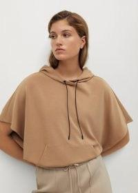MANGO Modal sweatshirt Medium Brown ~ camel coloured hooded sweatshirts