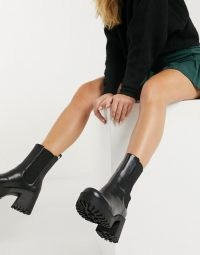 Monki Malwina faux leather chunky boot in black ~ block heel boots