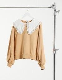 Monki Selma cotton sweatshirt with collar in beige – oversized collared sweatshirts
