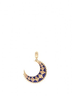 HARWELL GODFREY Moon sapphire, lapis lazuli & 18kt gold charm – blue stone pendants – celestial jewellery - flipped