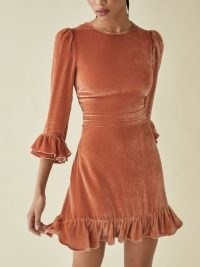 Reformation Mountain Dress in Salmon | ruffle trim puff sleeve dresses