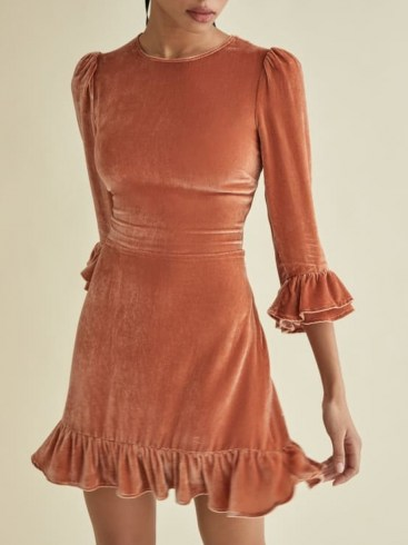 Reformation Mountain Dress in Salmon | ruffle trim puff sleeve dresses - flipped