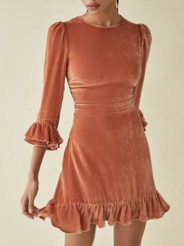 Reformation Mountain Dress in Salmon | ruffle trim puff sleeve dresses