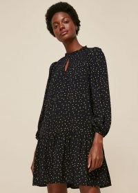 WHISTLES BRIGHT BUD PRINT SMOCK DRESS ~ drop hem dresses
