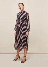 WHISTLES SHIBORI PRINT PLEATED DRESS ~ handkerchief hemline event dresses