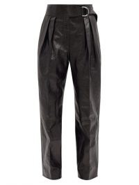JIL SANDER Napoleon pleated leather wide-leg trousers ~ black pleat detail pants
