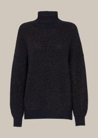 WHISTLES CHUNKY SPARKLE KNIT NAVY/MULTI / dark blue high neck jumpers