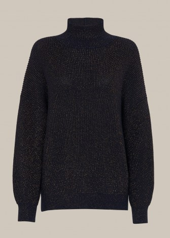 WHISTLES CHUNKY SPARKLE KNIT NAVY/MULTI / dark blue high neck jumpers - flipped