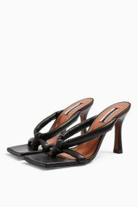 TOPSHOP NEO Black Leather Knot Mules ~ square toe sandals ~ squared off toe