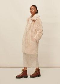 WHISTLES FAUX FUR COAT NEUTRAL / luxe winter coats