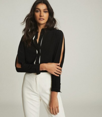 REISS NORA SPLIT DETAIL BLOUSE BLACK / contemporary open sleeve blouses / slit sleeves
