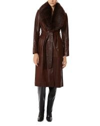 Kourtney Kardashian brown leather coat, Nour Hammour Uptown Girl Shearling Collar Trench in Chocolate, at Zero Bond, New York, 10 October 2020 | reality star coats | celebrity street style fashion