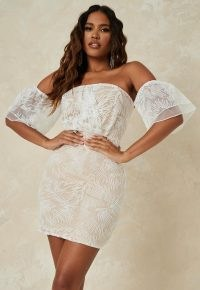 Missguided nude embroidered organza bardot mini dress ~ off the shoulder dresses ~ going out fashion