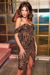 lavish alice off shoulder corset wrap dress in leopard velvet devore – wild animal prints – fitted evening dresses – going out glamour