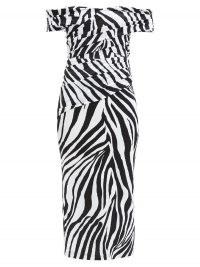 HALPERN Off-the-shoulder zebra-print jersey dress / monochrome evening wear / black and white animal print bardot dresses