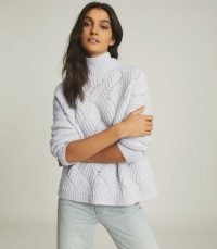 REISS OLA OVERSIZED CABLE KNIT JUMPER BLUE / turtle neck jumpers