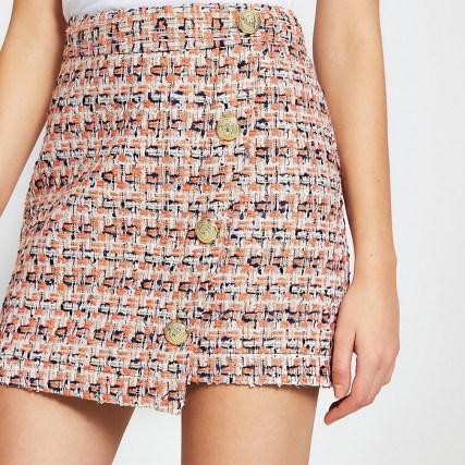 RIVER ISLAND Orange asymmetric boucle button mini skirt | textured tweed style skirts