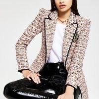RIVER ISLAND Orange bound edge boucle blazer ~ modern tweed jackets