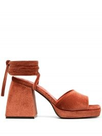 Nodaleto ankle tie platform sandals in tangerine orange – block heel platforms