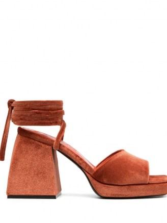Nodaleto ankle tie platform sandals in tangerine orange – block heel platforms