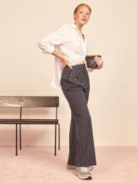 REFORMATION Oren Pant Navy White Stripe ~ wide leg pin striped trousers
