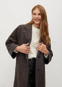 MANGO Gauguin oversize wool coat / brown checked oversized winter coats