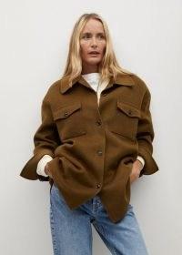 MANGO CHERRY Oversize wool jacket Brown ~ shirt style jackets ~ shackets