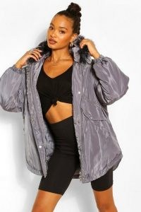 boohoo Oversized Panel Detail Parka ~ faux fur trimmed hooded parkas