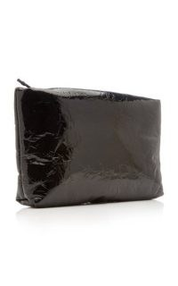 Kassl Padded Patent Leather Clutch in black / glossy crinkle effect bags