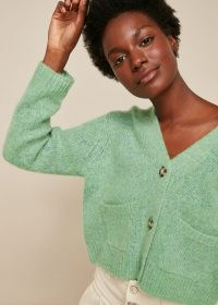WHISTLES ERICA FLECKED CARDIGAN in Pale Green