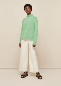 WHISTLES ERICA FLECKED FUNNEL NECK KNIT ~ green boxy jumper