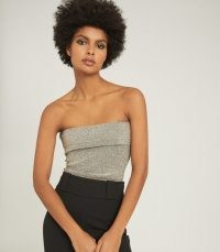 REISS PARIS METALLIC BANDEAU TOP SILVER ~ 70s disco vibe ~ shimmering strapless evening tops ~ retro glamour