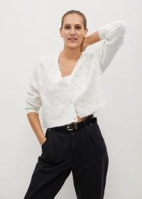 MANGO Tayrona pearls knitted cardigan / ecru embellished cardigans / luxe look knitwear