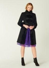 LK BENNETT PERRIS BLACK WOOL-BLEND & FAUX FUR TRIM COAT / glamorous winter coats