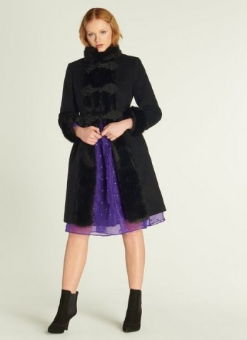 LK BENNETT PERRIS BLACK WOOL-BLEND & FAUX FUR TRIM COAT / glamorous winter coats - flipped