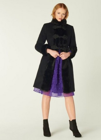 LK BENNETT PERRIS BLACK WOOL-BLEND & FAUX FUR TRIM COAT / glamorous winter coats