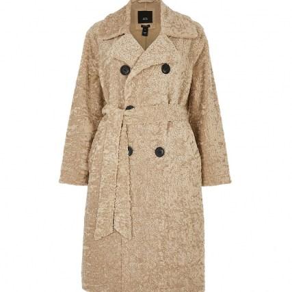 RIVER ISLAND Petite beige shearling bonded long line coat   textured winter coats - flipped