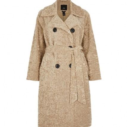 RIVER ISLAND Petite beige shearling bonded long line coat   textured winter coats