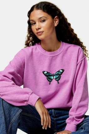 TOPSHOP Pink Butterfly Print Sweatshirt - flipped