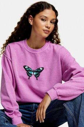 TOPSHOP Pink Butterfly Print Sweatshirt