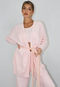 MISSGUIDED pink chenille belted cardigan