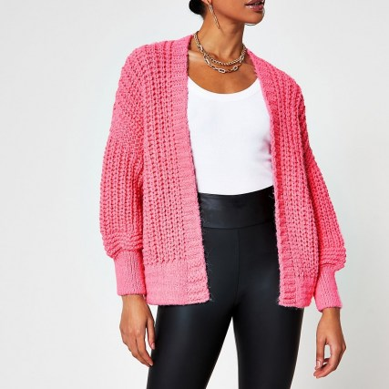 River Island Pink chunky knit ribbed cardigan | open cardigans | bright knitwear - flipped