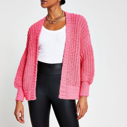 River Island Pink chunky knit ribbed cardigan | open cardigans | bright knitwear