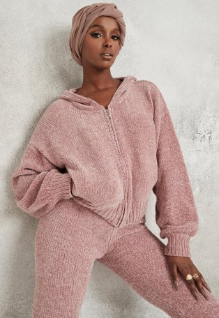 Missguided pink co ord chenille knit hoodie | knitted hoodies - flipped