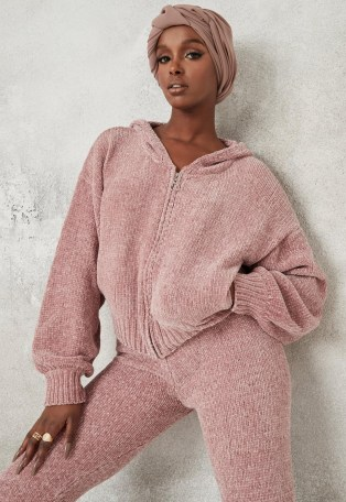 Missguided pink co ord chenille knit hoodie | knitted hoodies