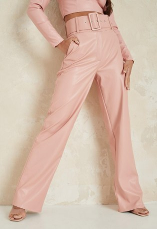 MISSGUIDED pink co ord faux leather tailored belted wide leg trousers ~ fashion trouser sets ~ co ords - flipped