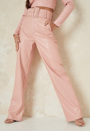 MISSGUIDED pink co ord faux leather tailored belted wide leg trousers ~ fashion trouser sets ~ co ords