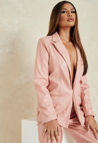 MISSGUIDED pink co ord faux leather tailored boyfriend blazer ~ blazers ~ jacket co ords - flipped
