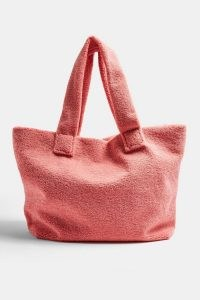 Topshop Pink Large Borg Tote Bag | textured bags